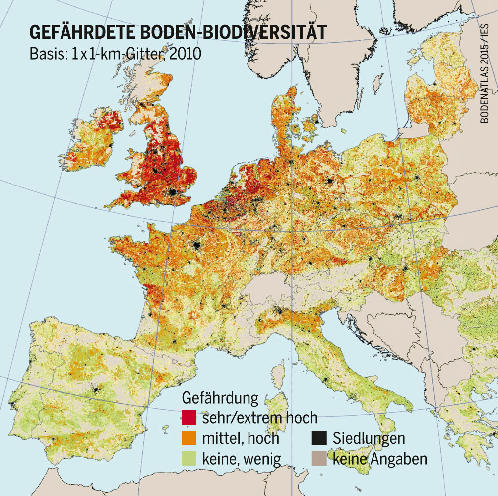 Gefährdete Böden in Europa, Stand 2010, Bodenatlas